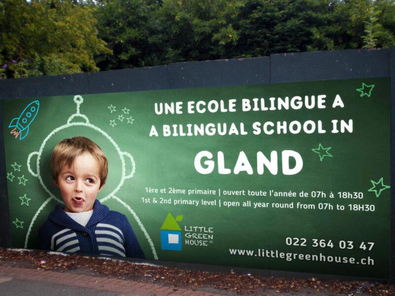 Campagne de publicité pour l'ouverture de l'école privée Little Green House