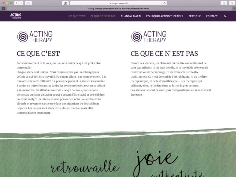 Lausanne création site internet Acting Therapy