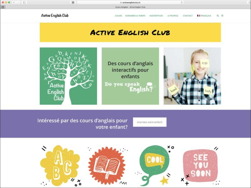 Gland création du site internet de l'école Active English Club